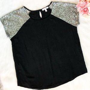 Delia's Black Top with Silver Sequin Sleeves